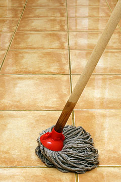 mopping a floor with a wet mop