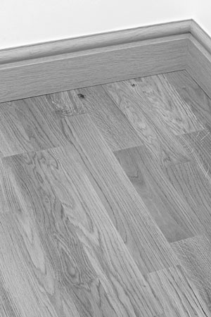 oak floor and baseboard